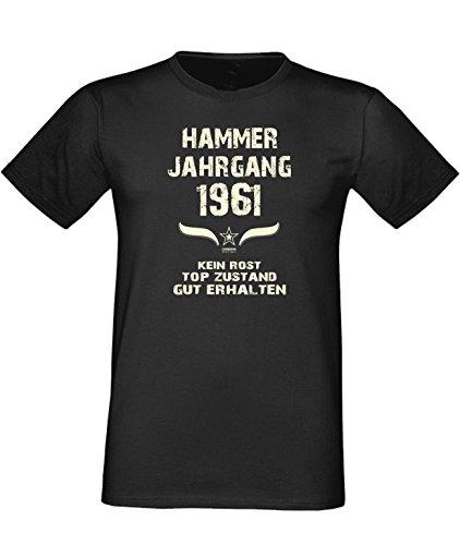 Humorvolles Happy-Birthday Fun-t-shirt Geschenk für den liebsten Menschen mit Sprüche-Motiv: zum 55. Geburtstag Hammer Jahrgang 1961 Farbe: schwarz Schwarz