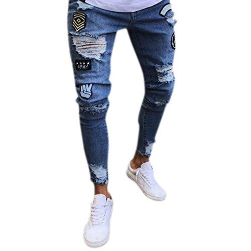 Bold Manner Herren Jeans Skinny Stretch mit Löchern Jeanshosen Used-Look Slim  Fit Destroyed Denim 862b3c1f2f