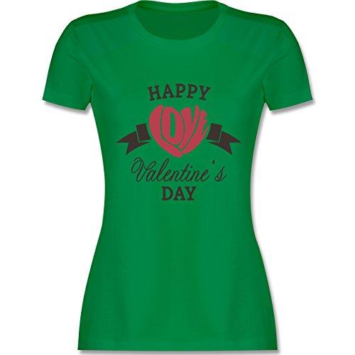 Valentinstag - Happy Valentine's Day Herz Love Typographie - tailliertes Premium T-Shirt mit Rundhalsausschnitt für Damen Grün