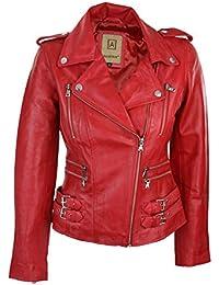 Aviatrix - Cazadora para mujer (piel, corta), diseño retro, color rojo