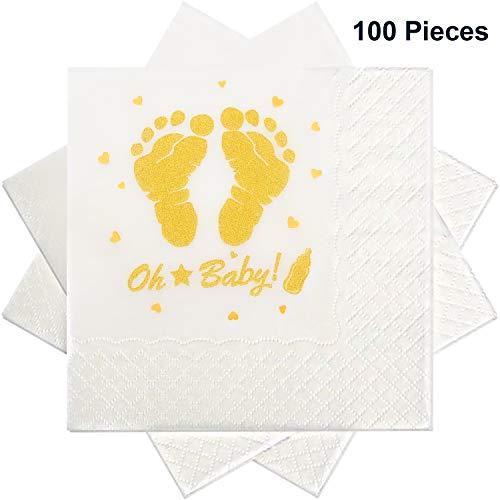 Blulu 100 Stücke Baby Dusche Servietten Fußabdruck Servietten Cocktail Servietten mit Gold Folie Füße für Jungen und Mädchen Baby Dusche Party Vorräte