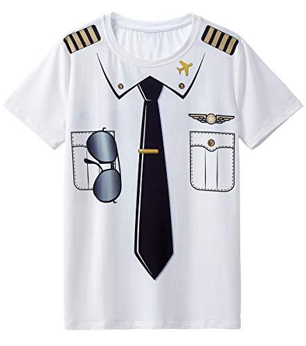 Cosavorock Pilot Kostüm Uniform T-Shirts Herren (AS:4XL, EUR:XXL, Weiß) (Xxl Für Erwachsene Pilot Kostüme)