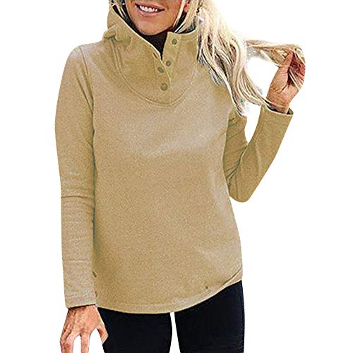 Btruely Sweatshirt Damen Loose Fit Langarmshirt Winter Pullover Warm Sweater Langarm Outwears Groß Größe Stehkragen Kapuzenpullover