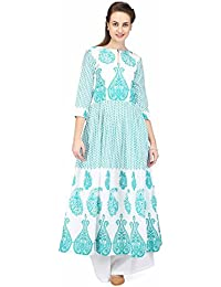 Pret A Porter Green Printed Long Box Pleated Tunic With Plazzo