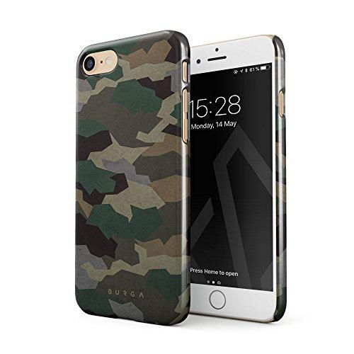 BURGA Hülle Kompatibel mit iPhone 7 / iPhone 8 Handy Huelle Tropical Military Armee Grün Camo Camouflage Tarnung Dünn, Robuste Rückschale aus Kunststoff Handyhülle Schutz Case Cover