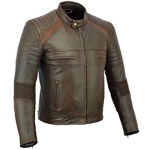 BULLDT Motorradjacke Vintage Lederjacke Cruiser jacke Braun, 48/S