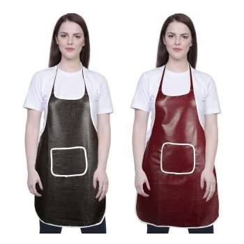 Yazlyn Collection Rexine Waterproof Kitchen Apron, Plastic Type Aprons with Front Pocket-Set of 2 (Grey Brown)
