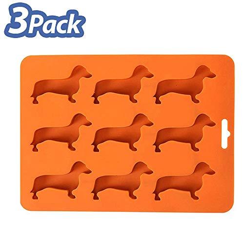ISKM Eiswürfelform Silikon Eiswürfel Dackel Dachshund Ice Cube Tray - 3 Stück 27-Fach Eiswürfel Form Eiswürfelbehälter | DIY Eiskugelform für Familie Partys & Bars (3 Stück Orange) -