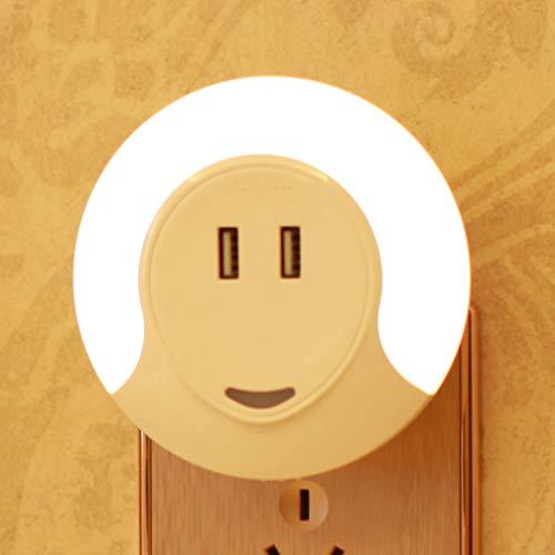 SLOSH Veilleuse avec Capteur Crépuscule et 2 USB Portes Prise Lampe de Nuit | 5V 2A Chargeur Automatique Détecteur de Lumière | LED Murale de 0,5W pour pour Chambre Enfant Bébé Chevet (Lumière Chaude)