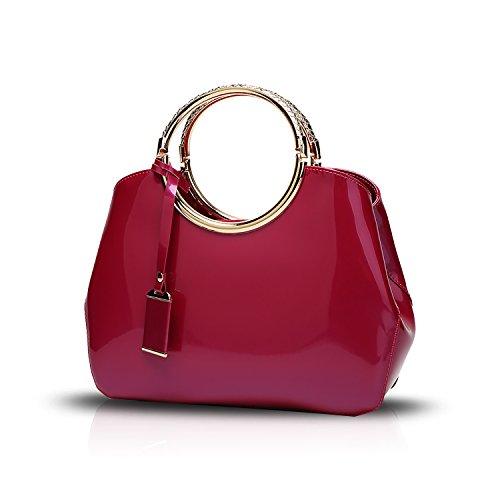 Tisdain Portafoglio delle signore del sacchetto di spalla del sacchetto del messaggero del sacchetto del messaggero della borsa della borsa delle donne Rosa rossa