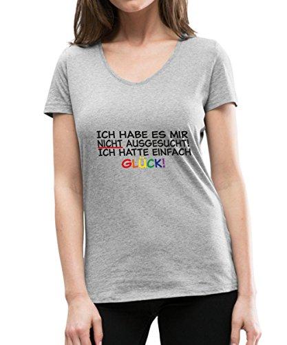 Spreadshirt Ich Hatte Einfach Glück LGBT Spruch Frauen Bio-T-Shirt mit V-Ausschnitt von Stanley & Stella, XL, Grau Meliert (Bio-baumwoll-t-shirt Glücks)