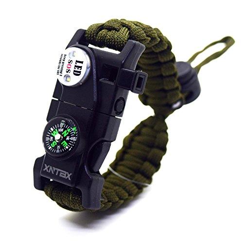 Paracord 550Armband-Set verstellbar Survival Armband–(SOS LED-Licht, Kompass, Fire Starter, Trillerpfeife, Schaber, Messer)–von xntbx–Beste...