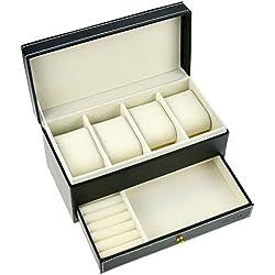 Starside Kompakt Doppeltschichte 4-Glitter/Kissen Uhrenkasten mit Schmuck Armband Ohrringe Organisator Aufbewahrungsbehälter aus Kunstleder Schwarz