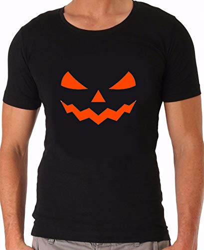 Monster Gesicht   Halloween   Pumpkin, KÜRBIS   SPRÜCHESHIRT, Funshirt, Partyshirt   SCHWARZ, Weiss   GR. S-4XL (Schwarz, M)