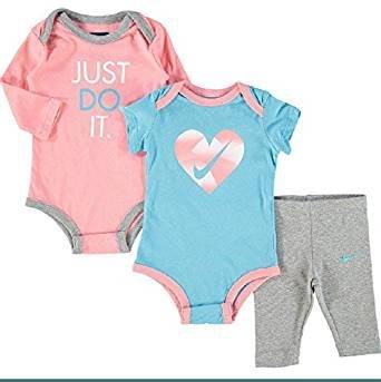 Nike BLAU und Pink drei Stück Outfit Set Body & Leggings Set Baby Dusche Geschenk Idee SZ 0–3Monate (Baby-kleidung Set Nike)