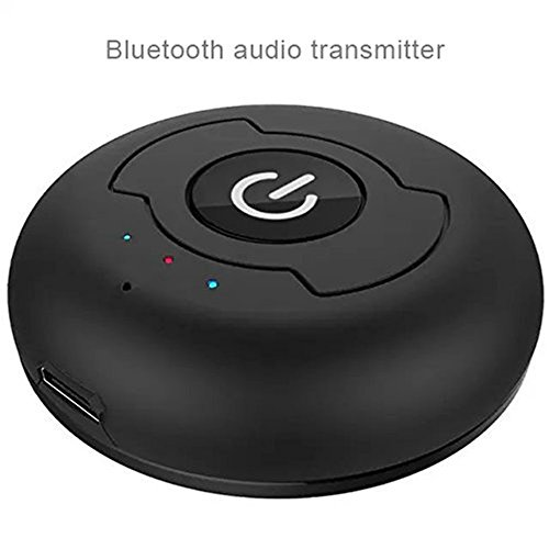 HBKJ, trasmettitore Bluetooth 4.0 per musica wireless, supporta due dispositivi Bluetooth contemporaneamente, per TV, PC, lettore CD, iPod, MP3/MP4, cuffie altoparlanti Nero