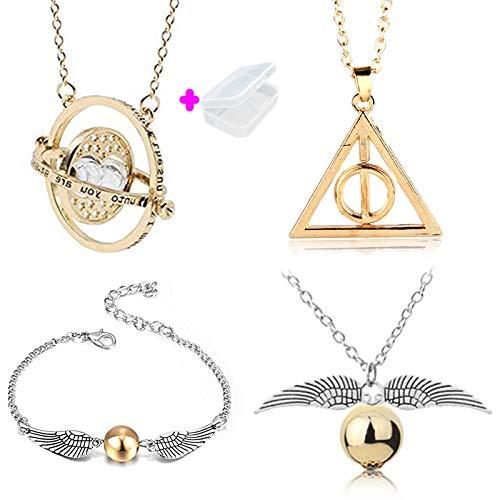 PPX 4 Stück Harry Potter Zeitumkehrer Kette Hermine Anhänger Sanduhr Gold-Gold Sand und Halskette Schnatz-Snitch/Flügel lose für Fans (Hermine Heiligtümer Des Todes)