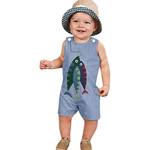 ß Ärmelloser Jumpsuit-Overall mit Fischmuster Cartoon Fisch Druck Spielanzug Overall Hose Romper Spielanzug Kleidung Outfit(6M-4T) ()