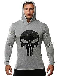 ROBO Hombres Sudadera con Capucha Impresión de Esqueleto Manga Larga Camiseta Tops, 7 Colores, EU 38-46