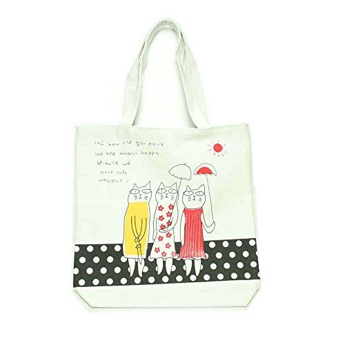 Henkeltasche/Shopper mit 3 Katzen und Regenschirmen creme