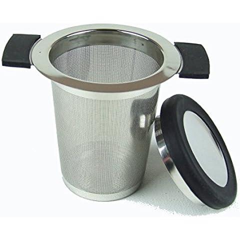 The Tea Makers of London - Filtro per tè in acciaio INOX, per una tazza, con maglia da 0,5 mm, colori: Rosa/Verde/Nero nero - Foglia Maker