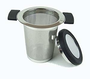Stainless Steel Tea Strainer with Anti Slip Handles - 0.5mm Micro Filter - Black