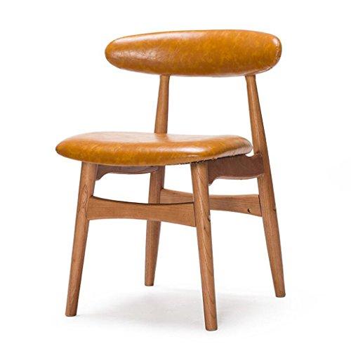 Rollsnownow Sol Jaune PU Coussin À Manger Chaise En Bois Massif Dossier Chaise Bureau Chaise Bureau Et Chaise Café Tables Et Chaises Rétro (Color : Red rubber color)