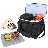 Luxja Hundeausrüstung Reisetasche, Hunde Zubehör Tasche, Hundetasche für Transport Tiernahrung, Spielzeug und Andere Essentiellen Hunde Ausstattung, Schwarz