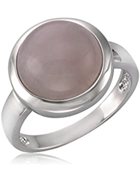ZEEme Jewelry Damen Ring 925/- Sterling Silber Rhodiniert Rosenquarz weiß 360271735