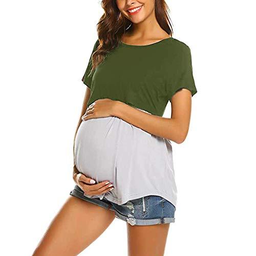 SOMESUN Schwangere Frauen Schwangere Kurzarm Stillen Baby Schwangerschaft Stillhemd Mode Zwei-Stiche-Nähen Funktionelle Einfach Zu Tragen Pyjama-Shirt