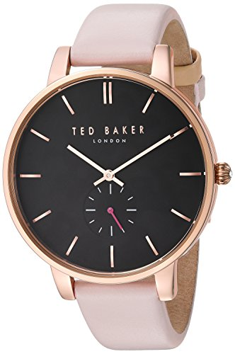 Ted Baker Women's 'OLIVIA' Quartz Stainless Steel and Leather Dress Watch, Color:Pink (Model: 10031538)