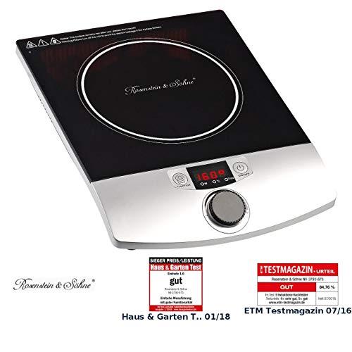 Rosenstein & Söhne Induktionskochplatten: Induktions-Kochplatte 12 bis 26 cm LCD Drehregler, 2.000 W, bis 200 °C (Induktionskochfeld)