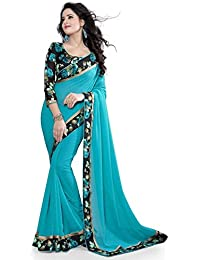 Varibha® BLUE & BLACK Printed Silk Saree Sari For Women & Girls | Latest New Collection 2314 | Under | Low Price...