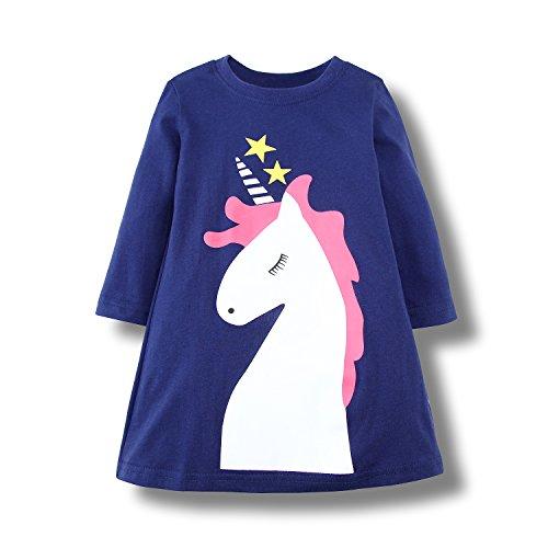 sual Baumwolle Tiere Gedruckt Streifen Langarm Playwear Kleid (Blue Unicorn, 6T) (Boutique Kinder Kleider)