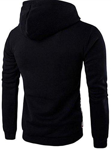 jeansian Herren Casual Ethnic Style Hooded Pullover Hoody Hoodies Sweatshirt Sports Top 88G0 88G3_Black