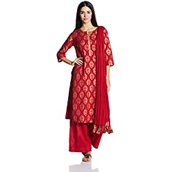 BIBA Women's Straight Salwar Suit (SKD5169_RED_34)