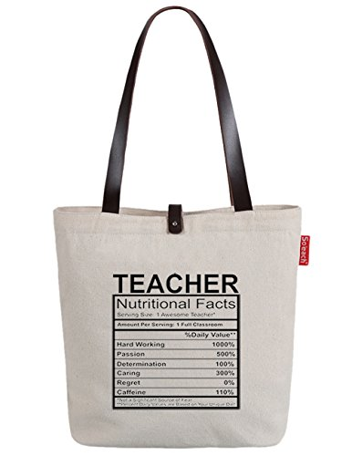 So'each Women's Teacher Letters Printed Top Handle Canvas Tote Shoulder Bag (Tote Handle Bag)