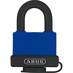 ABUS Padlock 70IB for outdoor use - stainless steel, high protection against manipulation, keyed alike 6401, blue, 24988