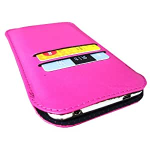 i-KitPit Genuine Leather Pouch Case For Videocon A15+ (PINK)