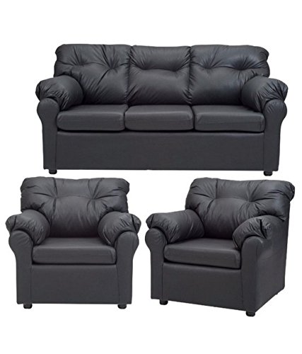FabHomeDecor Elzada Five Seater Sofa Set 3-1-1 (Black)