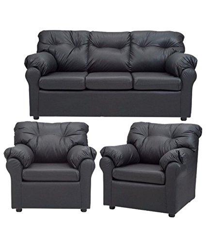 FabHomeDecor Elzada Five Seater Sofa Set 3-1-1 (Black)