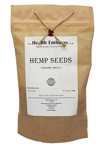 Hanfsamen (Cannabis sativa) 200g / Hemp Seeds - Health Embassy - 100% Natural -