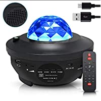 Night Light Baby Star Projector, 10 Color Bluetooth night Lamp with Timer Remote and Chargeable, Dimmable Combinations Romantic Starry Sky Best Gift for Kids Festival Bedroom Living Room (Black)