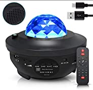 Night Light Baby Star Projector, 10 Color Bluetooth night Lamp with Timer Remote and Chargeable, Dimmable Comb