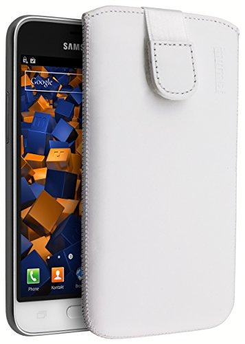 mumbi ECHT Ledertasche für Samsung Galaxy J1 (2016) Tasche Leder Etui weiss (Lasche mit Rückzugfunktion Ausziehhilfe)