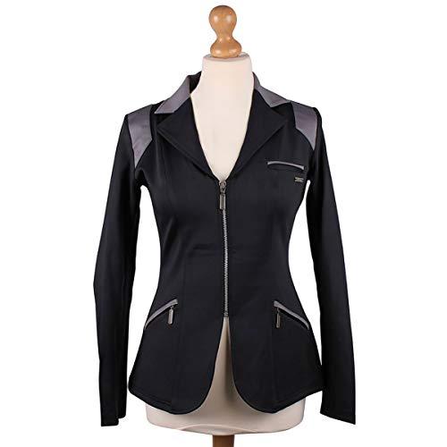 QHP Damen Turniersakko Turnierjacket Eve Adult Softshell graue Farbdetails (schwarz-grau, 44)