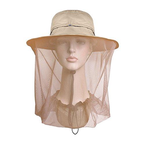 Lenikis Sombreros de protección Solar con mosquitera Caqui