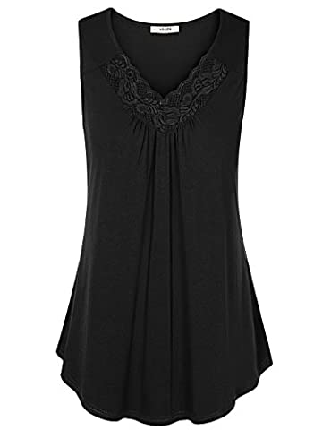 Women Floral Tank Tops ,Vivilli Women's Sexy Tank Tops Lace V Neck Ruched Sleeveless Blouses Tunic