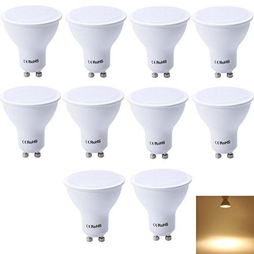 GU10 LED Glühbirne, warmweiß, 6 W ersetzt 45 Watt Halogen, nicht dimmbar, 450 Lumen, 3000 K, 120 ° Abstrahlwinkel - 10 Stück | LED von Maxsal| nicht Verwendung mit Dimmer Schalter, Warm White GU10 LED Bulb, GU10, 6W 220.00V