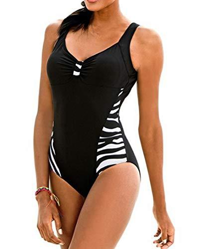 KISSLACE Damen Badeanzug Sport mit Körbchen Figurformend Push up Swimsuit Oversize Monokini Schwimmanzug Bademode X-Schwarz EU 42/Etikettgröße L